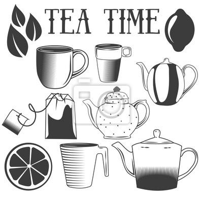 Tea time ręcznie rysowane ilustracji wektorowych. Zestaw obiektów herbaty na białym tle.