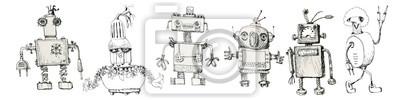 Obraz Team of robots. Vintage toys. Ink drawing.