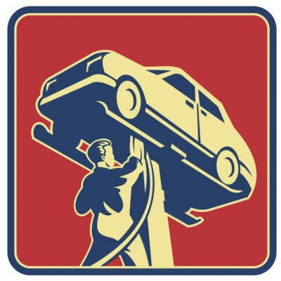 Obraz Technik mechanik Retro Naprawa samochodów