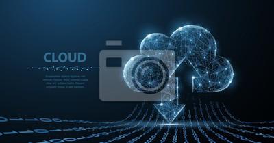 Obraz Technologia chmury. Wieloboczne szkielet sztuki wygląda jak konstelacja. Pojęcie ilustracja lub tło