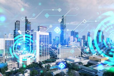 Obraz Technology hologram over panorama city view of Bangkok. The largest tech hub in Asia. The concept of developing coding and high-tech science. Double exposure.