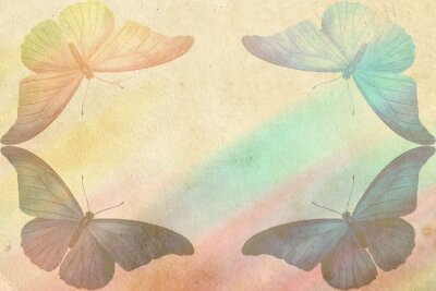 Obraz tęczowe tło motyl - styl vintage zdjęcia
