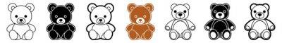 Obraz Teddy Bear Icon Brown Teddy Bear Toy Set | Teddy Bears Icon Love Vector Illustration Logo | Stuffed Teddy-Bear Happy Teddy Bear Icon Isolated Collection