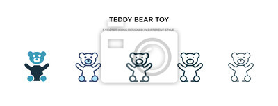 Obraz teddy bear toy icon in different style vector illustration. two colored and black teddy bear toy vector icons designed in filled, outline, line and stroke style can be used for web, mobile, ui