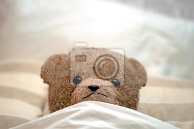 Obraz teddy idzie do łóżka
