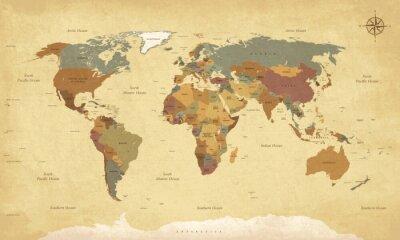 Obraz Teksturowane rocznika mapie świata - Etykiety English / US - Wektor CMYK