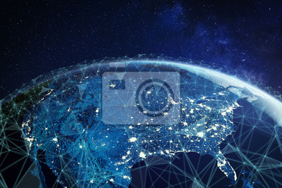Obraz Telecommunication network above North America and United States viewed from space for American 5g LTE mobile web, global WiFi connection, Internet of Things (IoT) technology or blockchain fintech