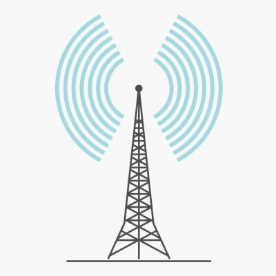 Obraz telecommunications signal transmitter. Vector illustration icon of a radio tower silhouette. Telecommunications and broadcasting industry concept icon.