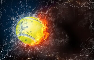 Obraz Tennis ball in fire and water