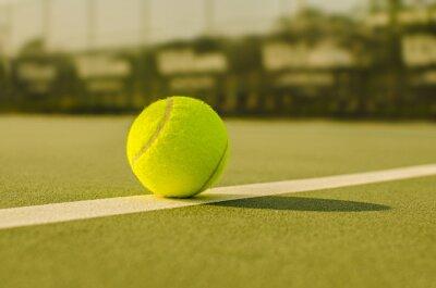 Obraz Tennis Ball on the Court Close up
