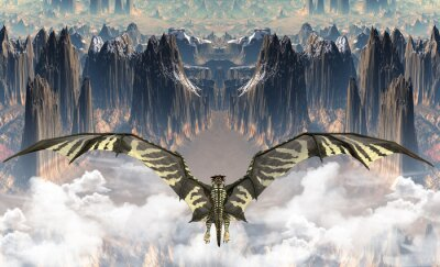 Obraz Teren Fantasy ze smokiem