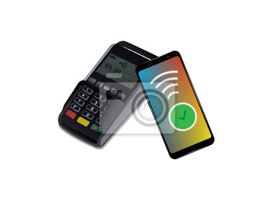 Terminal POS ze smartfonem, bezstykowa płatność. Protokół komunikacji bliskiego pola. Ikona wektor. Wifi Mobile Pay. Bezprzewodowy bank, mobilna NFC debetowa kredytowej karty 3d wektoru ilustracja