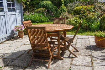 Obraz Terrace and wooden garden furniture during spring