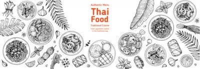 Obraz Thai food top view vector illustration. Food menu design template. Hand drawn sketch. Thai food menu. Vintage style. Tom yum, som tam, noodle soup, tom kha gai, mango stiky rice.