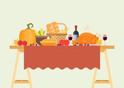 Obraz Thanksgiving dinner vector illustration