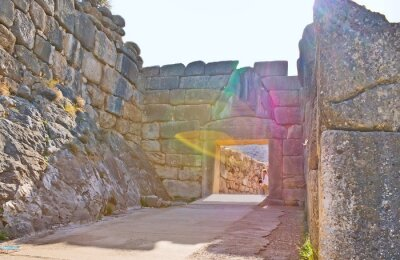 The ancient Lion Gate of Mycenae, Greece.
