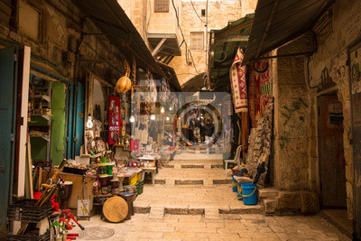 Obraz The Arabic suq in the historic old city of Jerusalem, Israel., Middle East