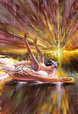 Obraz The ballerina soaring against the coming sun
