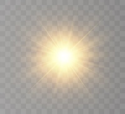 Obraz The bright sun shines with warm rays, vector illustration