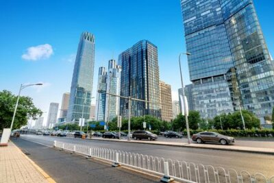 Obraz The city's tall buildings and high-speed cars, the urban landscape of Beijing, China.