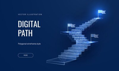 Obraz The concept of the path to success on a blue background. Staircase up in a futuristic polygonal style. Digital path abstract vector illustration