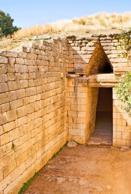 The entrance to the ancient tomb in Mycenae, Greece.