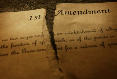 Obraz The First Amendment of the US Constitution, torn in half