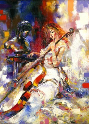 Obraz The girl plays a violoncello