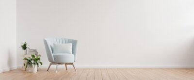 Obraz The interior has a armchair on empty white wall background.