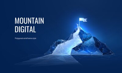 Obraz The path to success in the digital futuristic style. Business goals achievement concept. Vector illustration of a mountain with a flag in a polygonal wireframe style