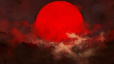 Obraz The red sun is shrouded in clouds during sunset. Indicates the end of the day. Sunset and sunrise concept. 2D illustration