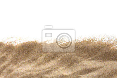 Obraz The sand isolated on white background. Flat lay top view. Copy space.