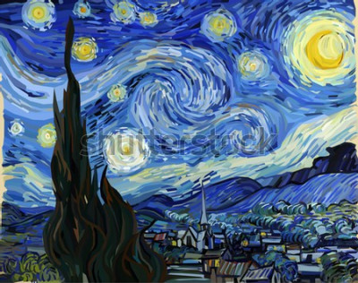 Obraz The Starry Night - Vincent van Gogh painting in Low Poly style. Conceptual Polygonal Illustration