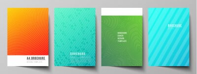 Obraz The vector layout of A4 format modern cover mockups design templates for brochure, magazine, flyer, booklet, annual report. Abstract geometric pattern with colorful gradient business background.