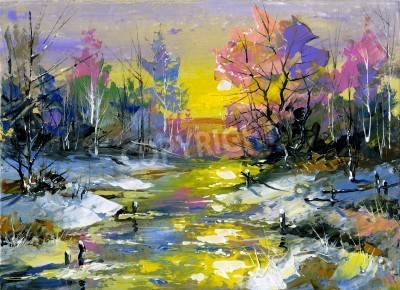 Obraz The winter landscape executed by oil on a canvas