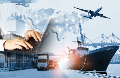 Obraz The world logistics  background or transportation Industry or shipping business, Container Cargo  shipment , truck delivery, airplane , import export Concept