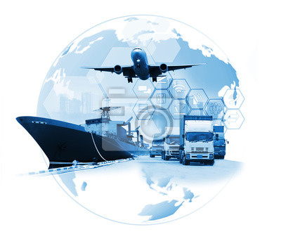 Obraz The world logistics , there are world map with logistic network distribution on background and Logistics Industrial Container Cargo freight ship for Concept of fast or instant shipping