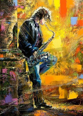 Obraz The young guy playing a saxophone