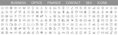 Obraz Thin line icons big set. Icons Business Office Finance Marketing Shopping SEO Contact. Vector illustration