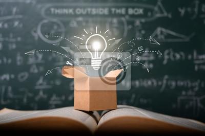 Obraz think outside the box on school green blackboard . startup  education concept. creative idea. leadership.