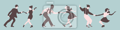 Obraz Three swing dance couples silhouettes on a green background