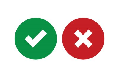 Obraz Tick and cross signs. Green checkmark OK and red X icons, isolated on white background. Simple marks graphic design. Circle symbols YES and NO button for vote, decision, web. Vector illustration
