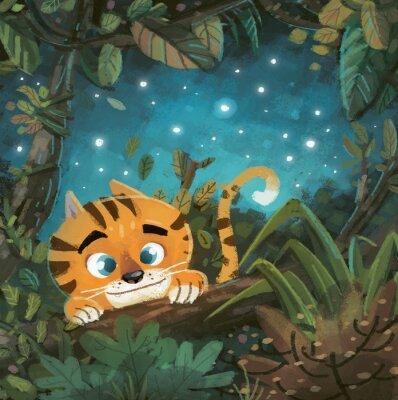 Obraz tigre en la Selva de noche