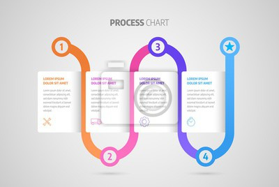 Timeline infographic design or process chart. Business data. Abstract element of chart, graph, diagram with 4 steps, options, processes.