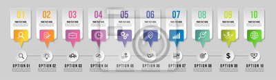 Timeline Infographic Design Template with 10 Options Steps. Start to goal line process. Used for info graph, presentations, process, diagrams, annual reports, workflow layout. Vector Illustration
