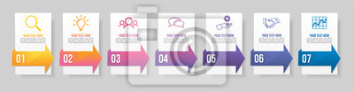 Timeline Infographic Design Template with 7 Options Steps. Start to goal line process. Used for info graph, presentations, process, diagrams, annual reports, workflow layout. Vector Illustration
