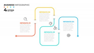 Obraz Timeline infographic thin line design with icons. Template for graph, diagram, presentations. Business concept with 4 options. Vector illustration.