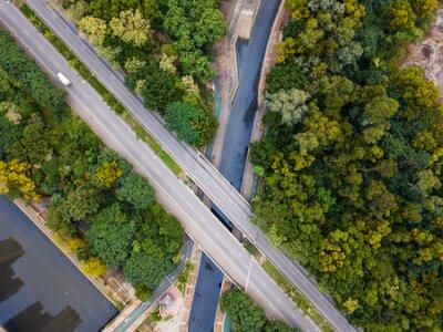 Obraz Tin Shui Wai, Hong Kong 15 July 2018:- Top view of highway