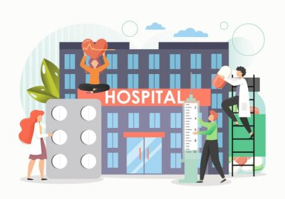 Tiny doctors providing medical assistance to woman with heart disease in hospital, vector flat illustration