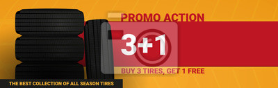 Obraz Tires car advertisement poster. Black rubber tire on the background with wheel tire tracks.